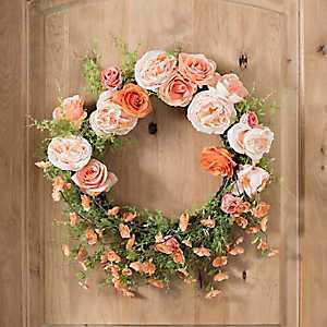 Peach Rose Floral Wreath