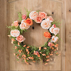 Peach Rose Floral Wreath