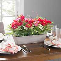 Red Poppy Arrangement in Wood Pot, 18 in.