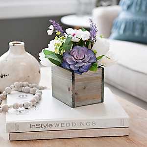 Rose and Succulent Arrangement in Wood Crate