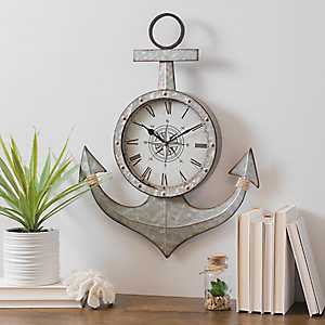 Galvanized Metal Anchor Wall Clock