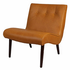 Caramel Leather Alexa Mid-Century Accent Chair