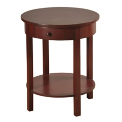 Round Fir Wood Accent Table