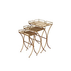 Geometric Gold Metal Nesting Tables, Set of 3