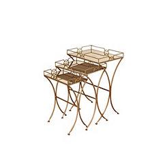 Geometric Gold Metal Nesting Tables, Set of 3