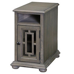 Gray Chairside Table with Charging Station