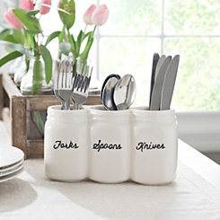 White Mason Jar 3-Section Caddy
