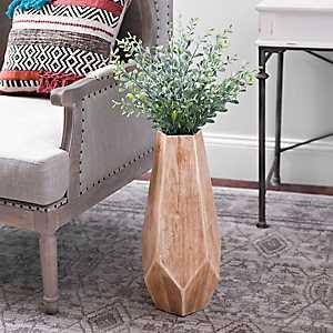 Geometric Wood Vase