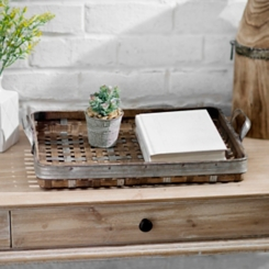 Woven Bamboo & Metal Tray