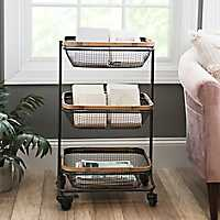 Black Tiered Basket Storage Cart
