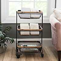 Black Tiered Basket Storage Cart