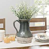 Gray Ceramic Stone Pitcher Vase, 12 in.