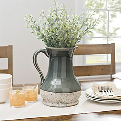 Gray Ceramic Stone Pitcher Vase, 12 in.
