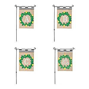 Spring Lemon Wreath Monogram Flag Sets