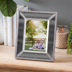 Smoke Distressed Mirrored Picture Frame, 5x7