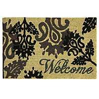 Black Floral Welcome Doormat