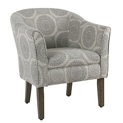Gray Medallion Pub Accent Chair