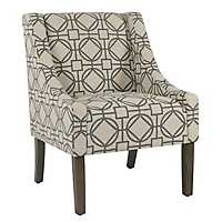 Handstamped Gray Lattice Swoop Accent Chair