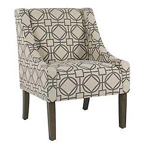 Handstamped Gray Lattice Swoop Accent Chair