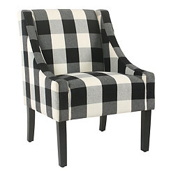 Black Buffalo Check Swoop Accent Chair