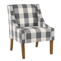 Blue Buffalo Check Swoop Accent Chair