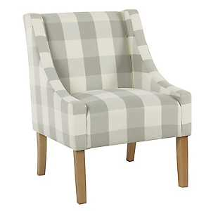 Gray Buffalo Check Swoop Accent Chair