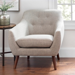 Gray Tufted Mid-Century Modern Accent Chair