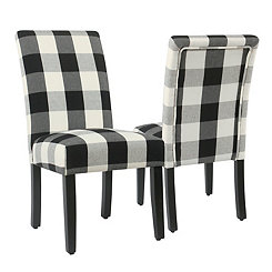 Black Buffalo Check Dining Chairs, Set of 2