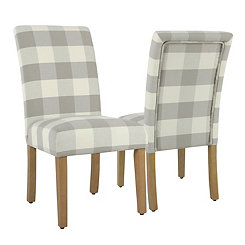 Gray Buffalo Check Dining Chairs, Set of 2