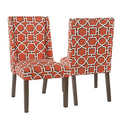 Orange Lattice Dining Chairs, Set of 2