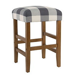 Blue Buffalo Check Counter Stool