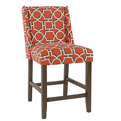 Orange Lattice Counter Stool