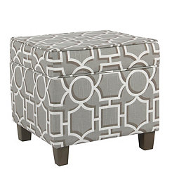 Gray Lattice Square Storage Ottoman