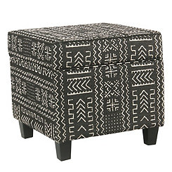 Black and White Global Square Storage Ottoman