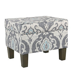 Gray and Blue Damask Storage Ottoman