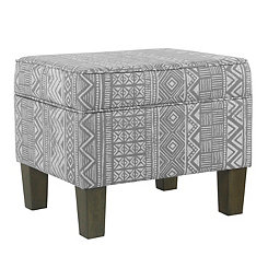 Gray and White Global Storage Ottoman