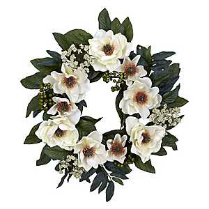 White Magnolia and Berry Wreath