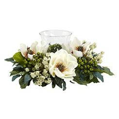 White Magnolia and Berry Candle Holder