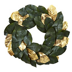 Gold Magnolia Leaf Wreath