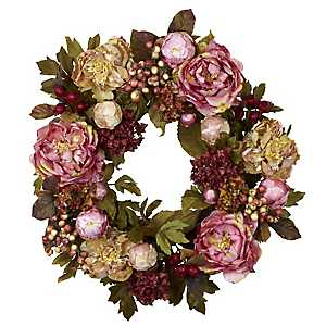 Pink Peony and Berry Wreath