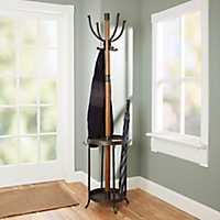 Dixon Wood and Metal Coat Rack with Umbrella Stand