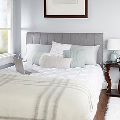 Light Gray Channel Tufted King Headboard
