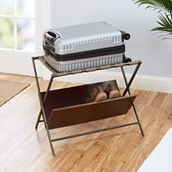 Thompson Metal Folding Luggage Rack with Shelf