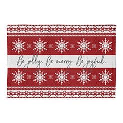 Red and White Jolly Merry Joyful Kitchen Mat