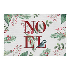 Noel Foliage with Bird Christmas Kitchen Mat