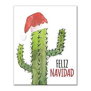 Feliz Navidad Cactus Canvas Art Print