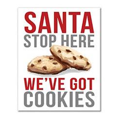 Santa Stop Here Cookies Canvas Art Print