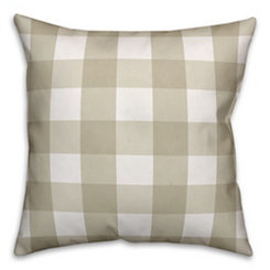 Tan and White Buffalo Check Pillow