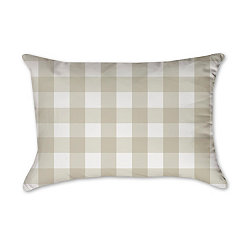 Tan and White Buffalo Check Accent Pillow