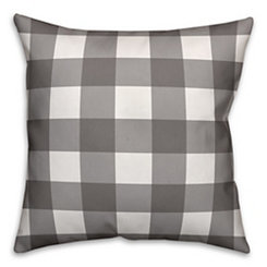 Gray and White Buffalo Check Pillow, 26 in.